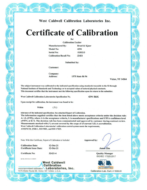 Superb The Following Is A Sample Of The Certificate And Report For A Calibration  Exciter. To Download A Printable PDF File Of This Certificate Sample,  Please Click ... Regard To Certificate Samples